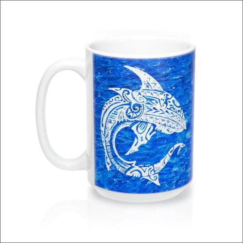 Polynesian Shark Mug 15 oz - 4 Colors Available - Blue - Drinkware