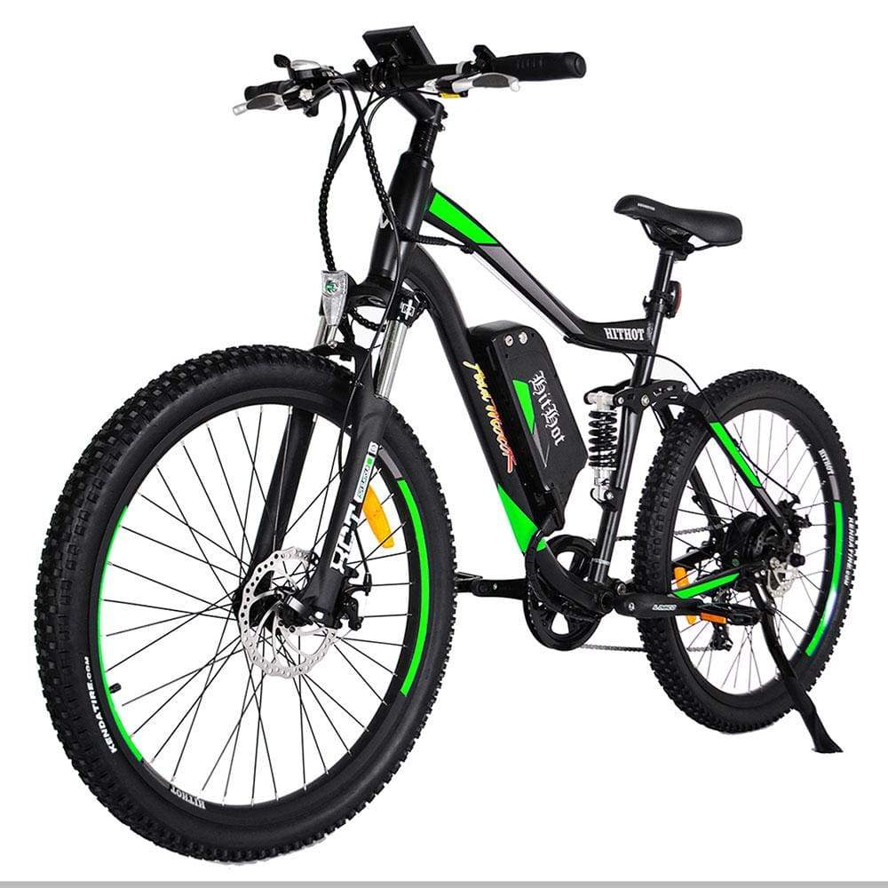 Electric Mountain Bike Addmotor Hithot H1 500W - Dual Suspension - Green - Electric Bike $1699.00