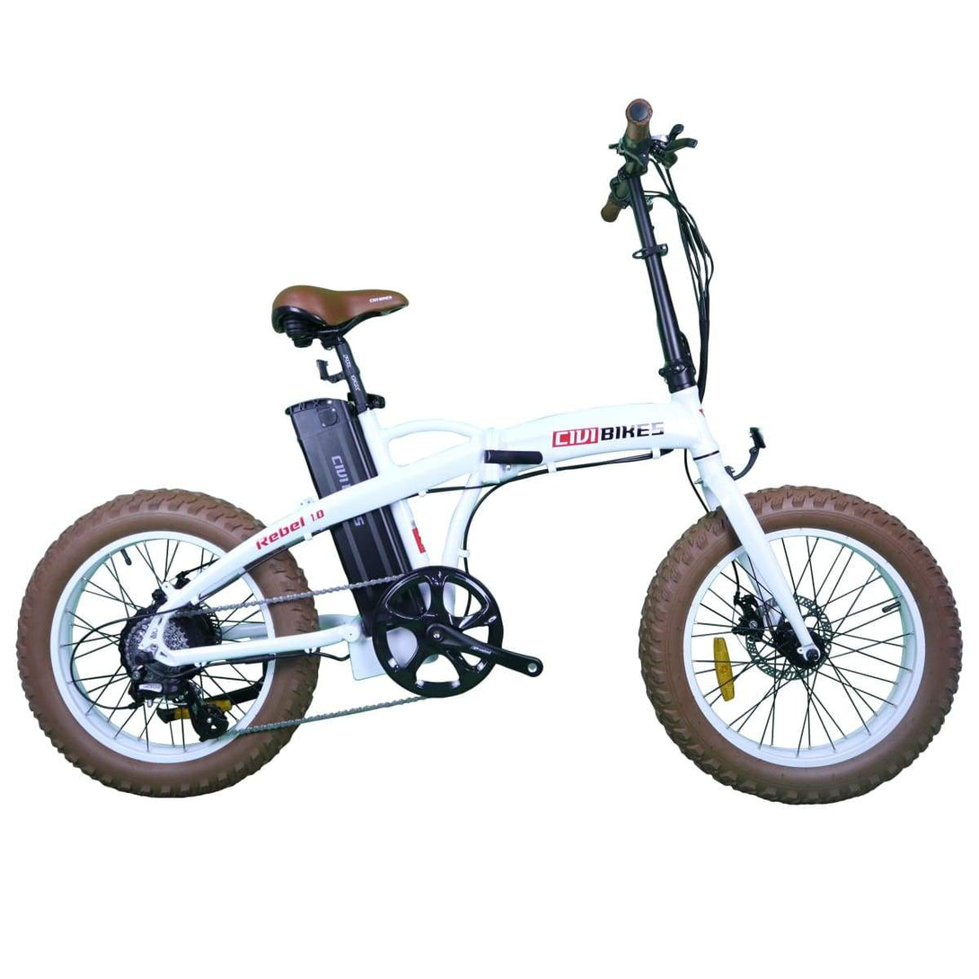 Folding Electric Bike Civi Bikes Rebel 1.0 500 Watt - Fat Tire Bike - Pearl White - Electric Bike $1099.00