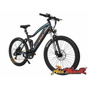 Electric Mountain Bike Addmotor HITHOT H1 Platinum 500W Full Suspension - Blue / Black - electric bike