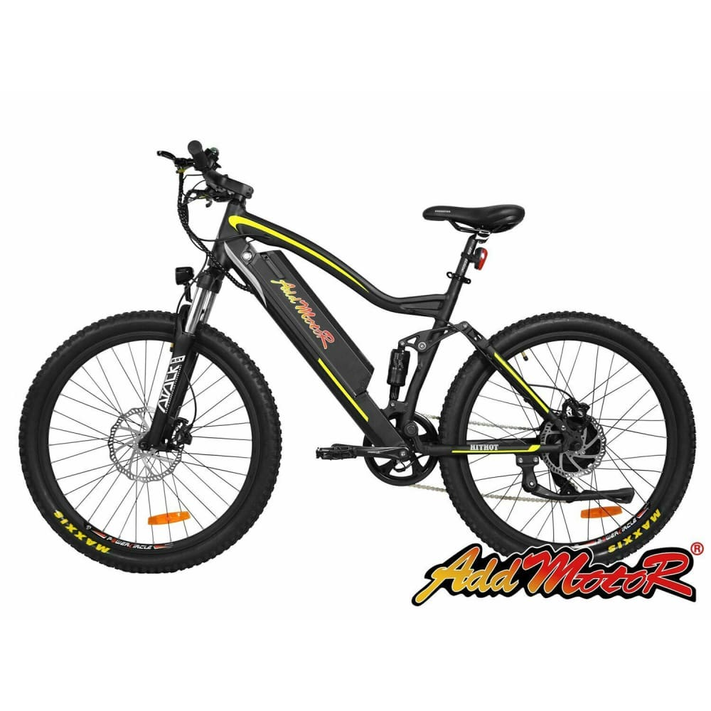 Electric Mountain Bike Addmotor HITHOT H1 Platinum 500W Full Suspension - Yellow / Black - electric bike