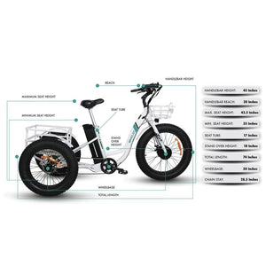 Emojo Caddy Electric Tricycle White 48V 500W - EBK12-01 - electric bike