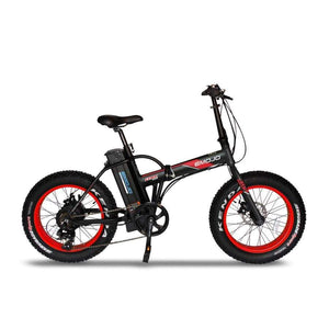 Folding Electric Bike Emojo Lynx Pro 500 Watt 48 V- Fat Tire Bike - Black/red / Basic - Electric Bike $1429.00