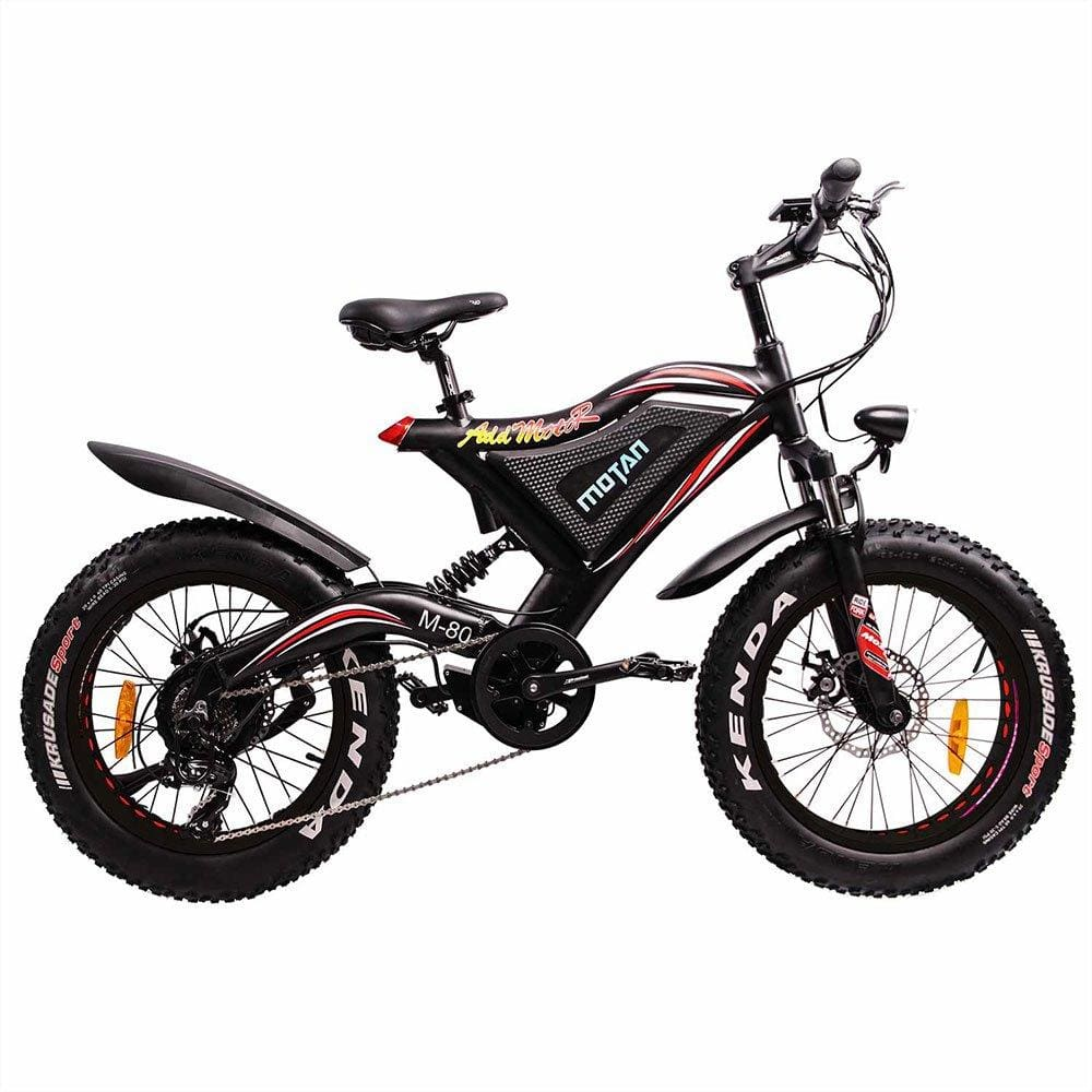 Fat Tire Electric Bike Addmotor MOTAN M-80 500W 48V 11.6Ah Full Suspension - electric bike