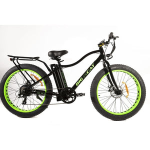 Fat Tire Electric Bike BIG CAT Fat Cat XL 500W (New 2019) - High Gloss Black Frame / Neon Green Wheels - electric bike