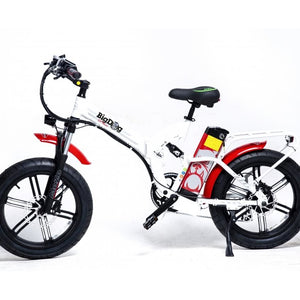 Fat Tire Folding Electric Bike GreenBike Big Dog Off Road 48V 750W - White / Red - electric bike