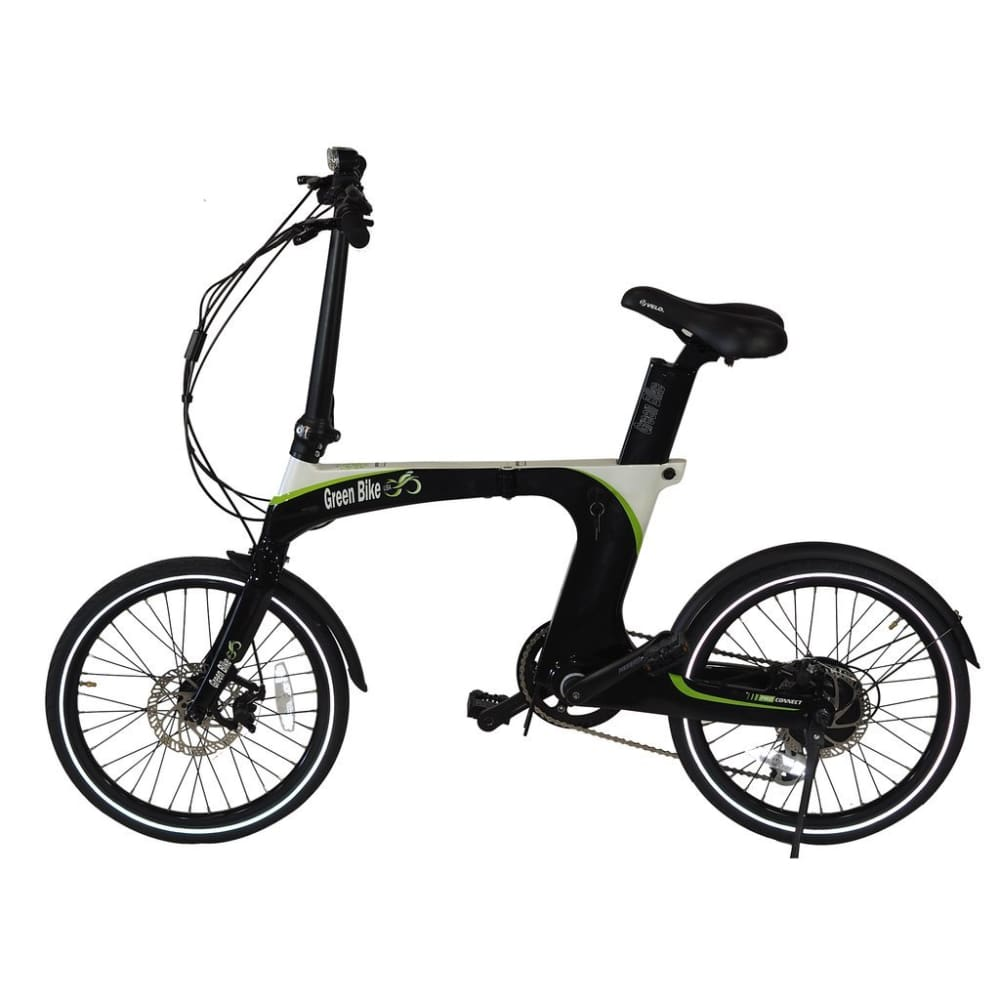 Folding Electric Bike Green Bike USA - GB Carbon Light - 350W 10.5Ah - Black / Green - electric bike