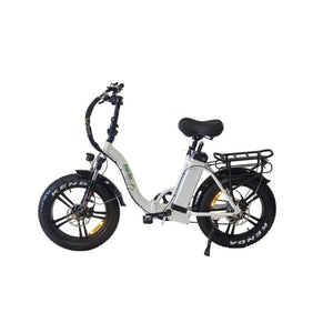 Folding Electric Bike Green Bike USA - GB LOW STEP FAT TIRE 750W 15.6 Ah - White - electric bike