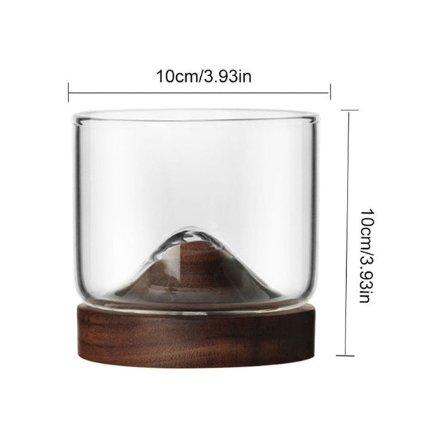 Stylish Whisky Tumbler with Wooden Mount Dimensions
