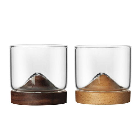 Stylish Whisky Tumbler with Wooden Mount