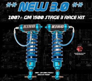"Direct Bolt-On KING Stage 3 Race Kit Front 3.0"" Remote Reservoir Coil-Over Shock for Silverado/Sierra 1500"