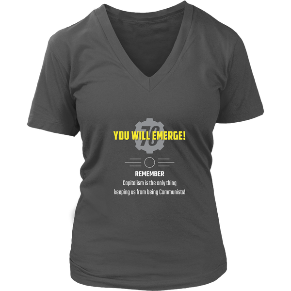 Fallout 76 You Will Emerge Women's V-Neck T-Shirt