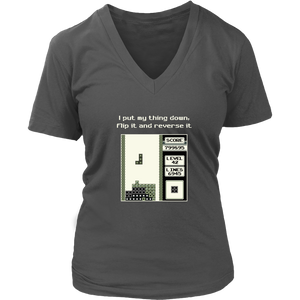 Tetris Put My Thing Down Women's V-Neck T-Shirt
