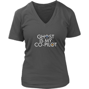 Ghost is my Co-Pilot (Small Ghost) Women's V-Neck T-Shirt