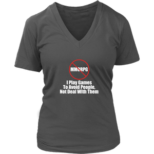 No MMORPG Anti-Social Gamer Women's V-Neck T-Shirt