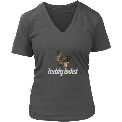 Fallout 4 Toilet Teddy Bear Women's V-Neck T-Shirt