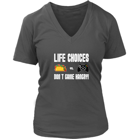 Life Choices - Food Vs Gaming (Xbox Edition) Women's V-Neck T-Shirt