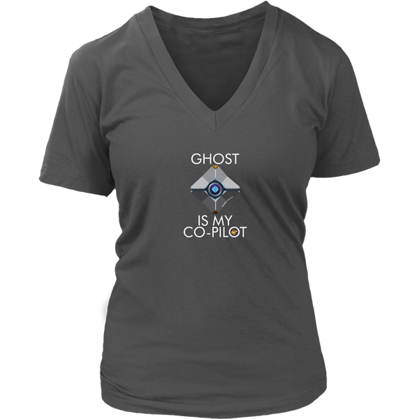Ghost is my Co-Pilot (Centered Ghost) Women's V-Neck T-Shirt