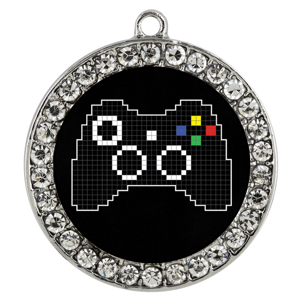 Pixel Art Xbox Gaming Fan Stone Coin Necklace