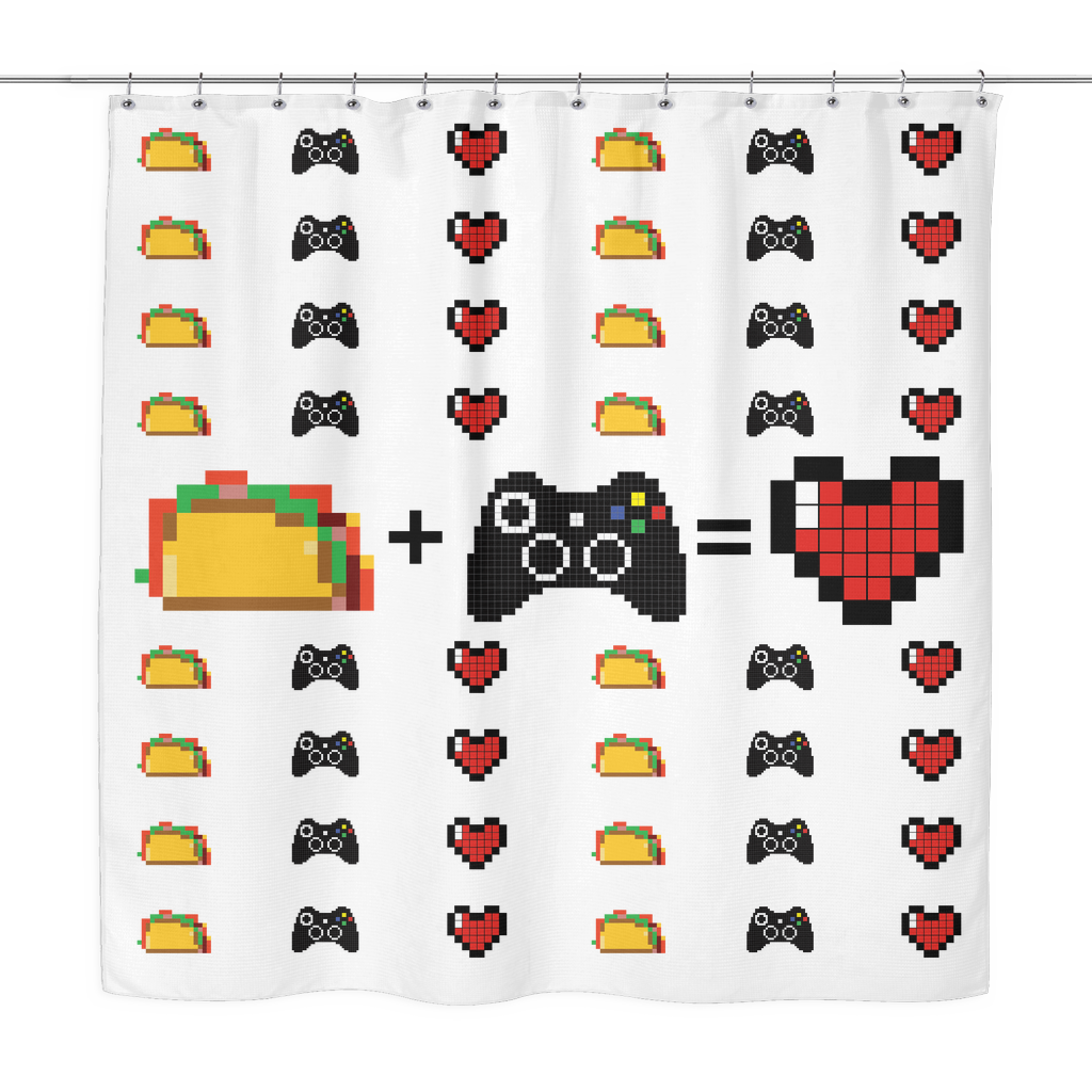 Food + Xbox = Love Shower Curtain