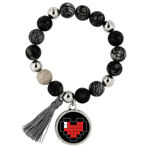 Pixelated Heart Lyric Bracelet