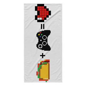 Food + Xbox = Love Beach Towel