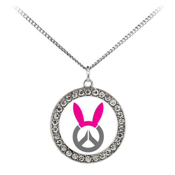 Overwatch D.Va Bunny Logo Stone Coin Necklace