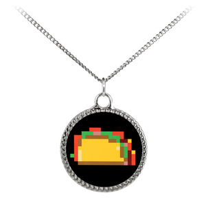 Pixelated Taco Deco Coin Necklace