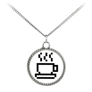 Coffee Lovers Pixel Art Deco Coin Necklace
