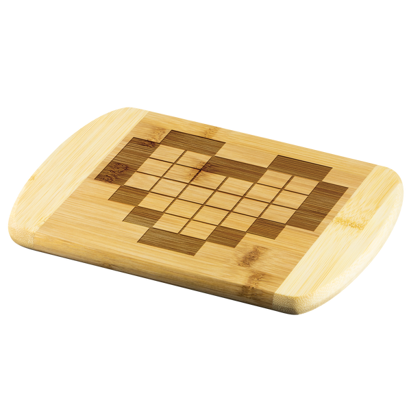 8-bit Pixelated Heart Laser Etched Bamboo Cutting Board