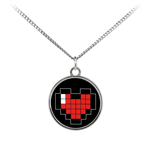 Pixelated Heart Standard Coin Necklace
