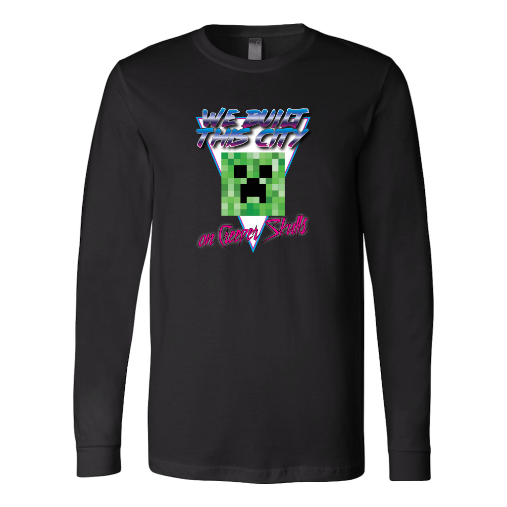 Minecraft We Built this City on Creeper Skulls Retro Long Sleeve Shirt