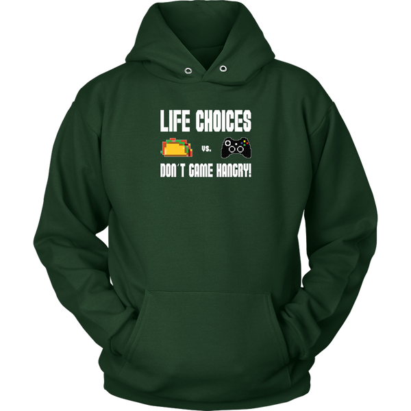 Life Choices - Food Vs Gaming (Xbox Edition) Hoodie