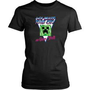 Minecraft We Built this City on Creeper Skulls Retro Women's T-Shirt