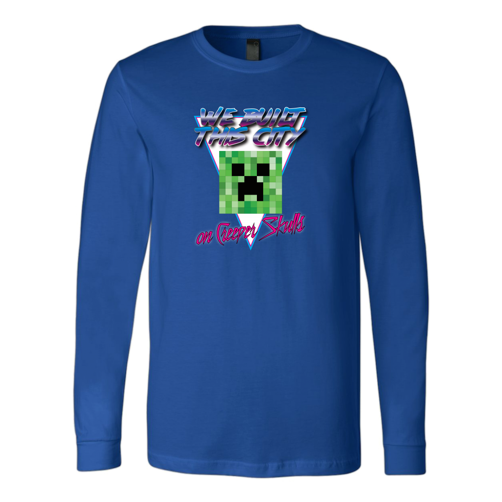 ... Minecraft We Built This City On Creeper Skulls Retro Long Sleeve Shirt  ...
