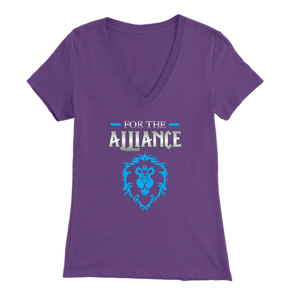 "World of Warcraft ""For the Alliance"" Women's V-Neck T-Shirt"