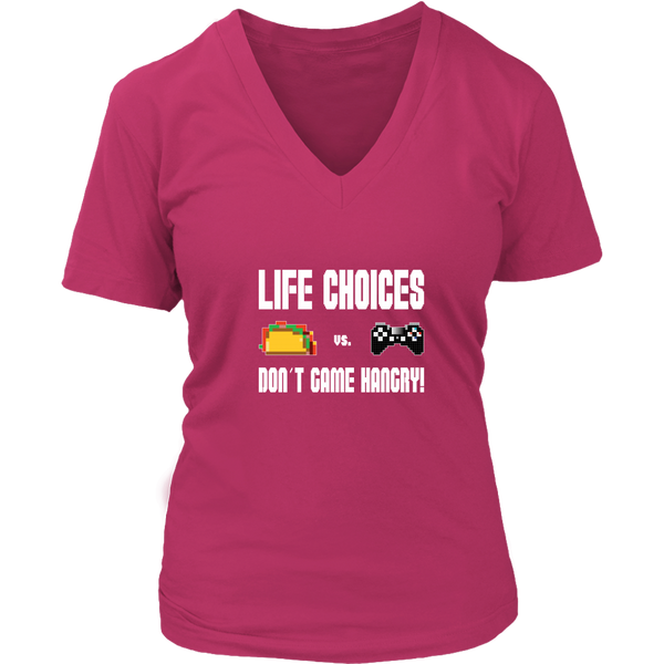 Life Choices - Food Vs Gaming (Playstation Edition) Women's V-Neck T-Shirt