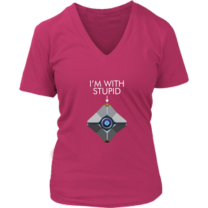 Destiny Ghost I'm With Stupid Women's V-Neck T-Shirt