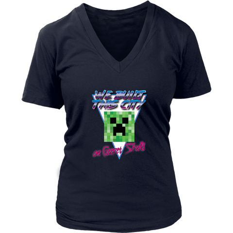 Minecraft We Built this City on Creeper Skulls Retro Women's V-Neck T-Shirt