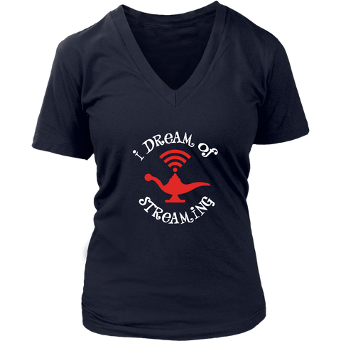 I Dream of Streaming Women's V-Neck T-Shirt