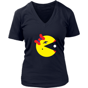 Classic Gaming Mrs. Pacman Women's V-Neck T-Shirt