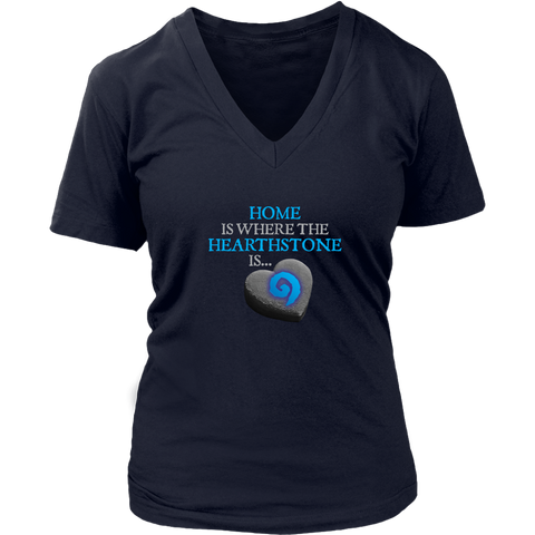 Home is Where the Hearthstone is (Heart Shaped) Women's V-Neck T-Shirt