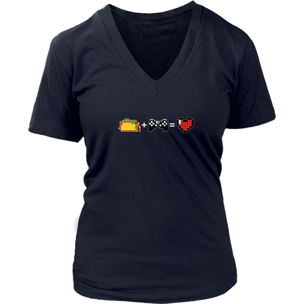 Food + Gaming = Love (PS Edition) Women's V-Neck T-Shirt