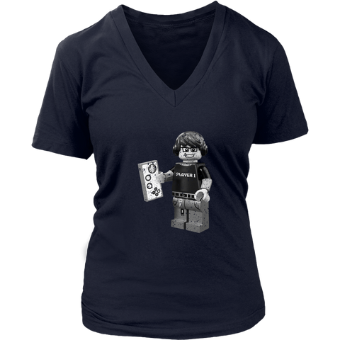 Lego Geek Player 1 Women's V-Neck T-Shirt