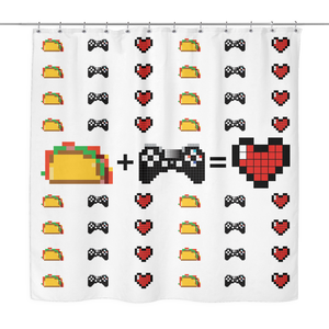 Food + Playstation = Love Shower Curtain
