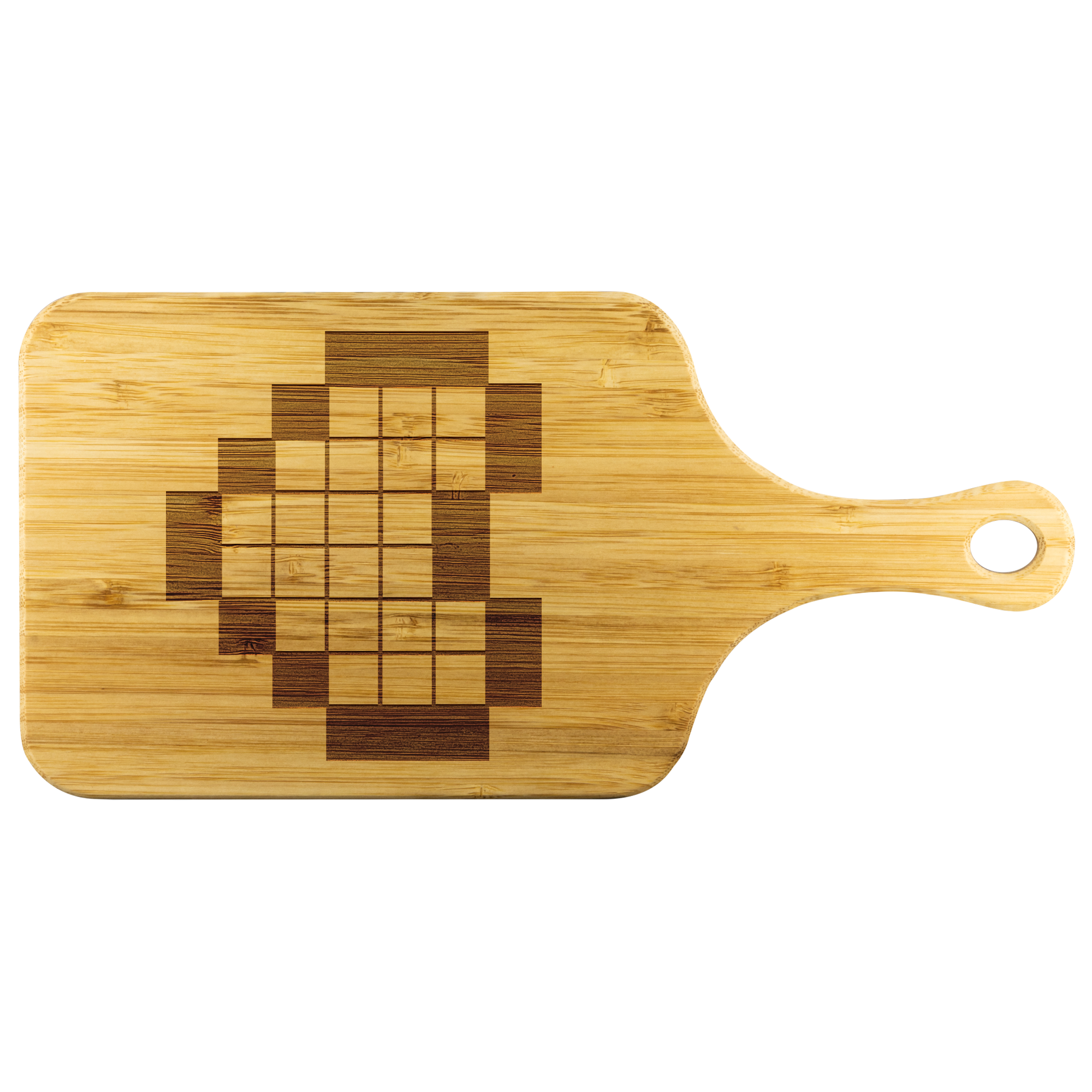 8-bit Pixelated Heart Laser Etched Bamboo Cutting Board with Handle