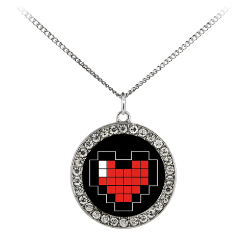 Pixelated Heart Stone Coin Necklace