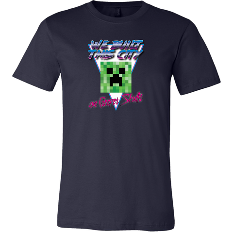 Minecraft We Built this City on Creeper Skulls Retro Men's T-Shirt