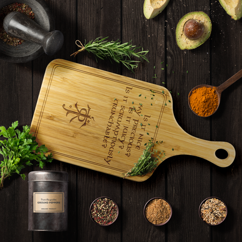 LOTR Scrumptiously Crunchable Laser Etched Bamboo Cutting Board with Handle