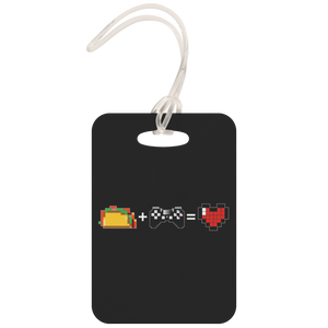 Food + Playstation = Love Metal Luggage Tag